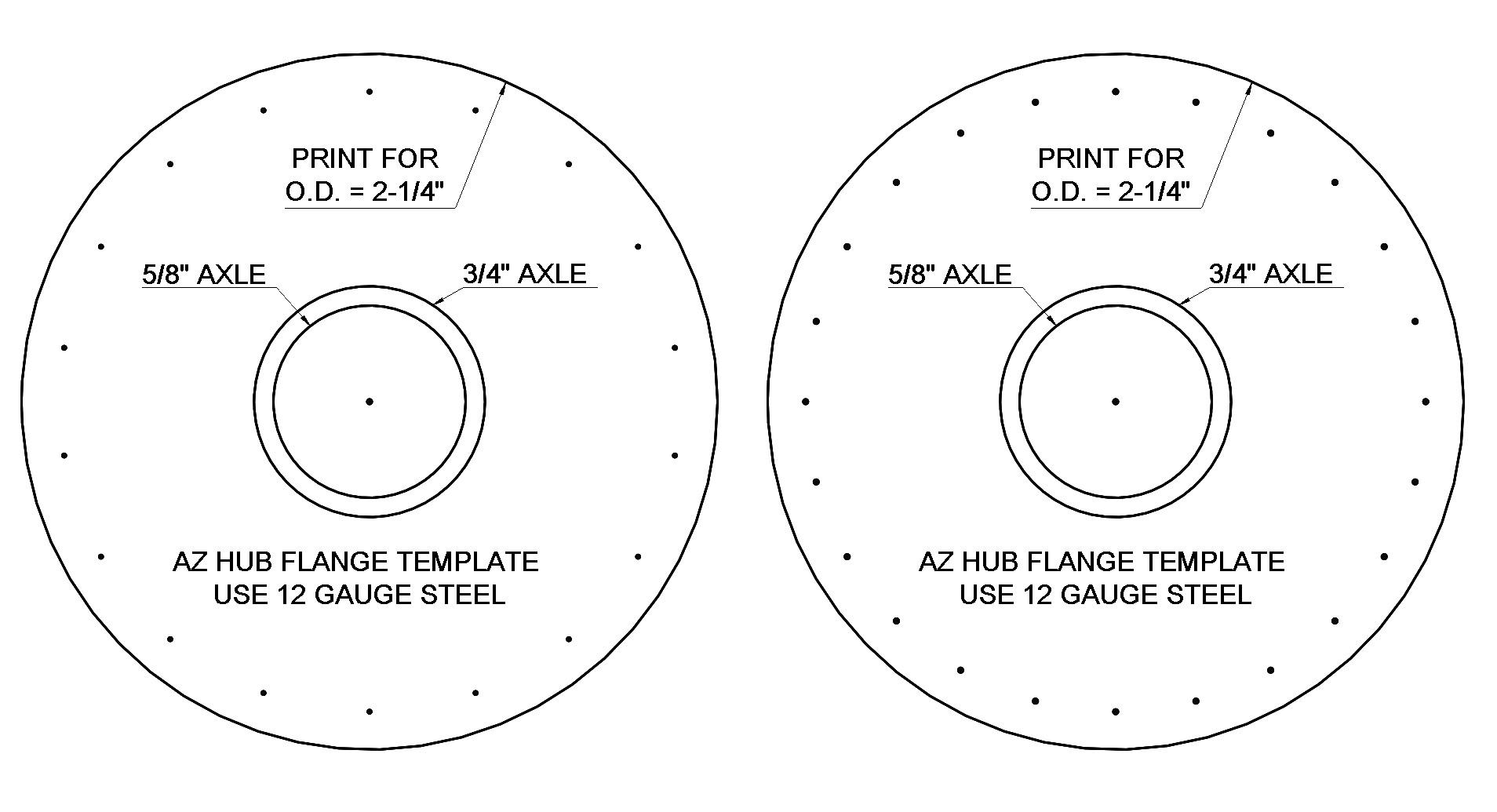 Hub flange templates