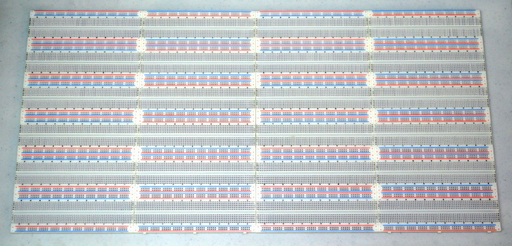 24 connected breadboard panels