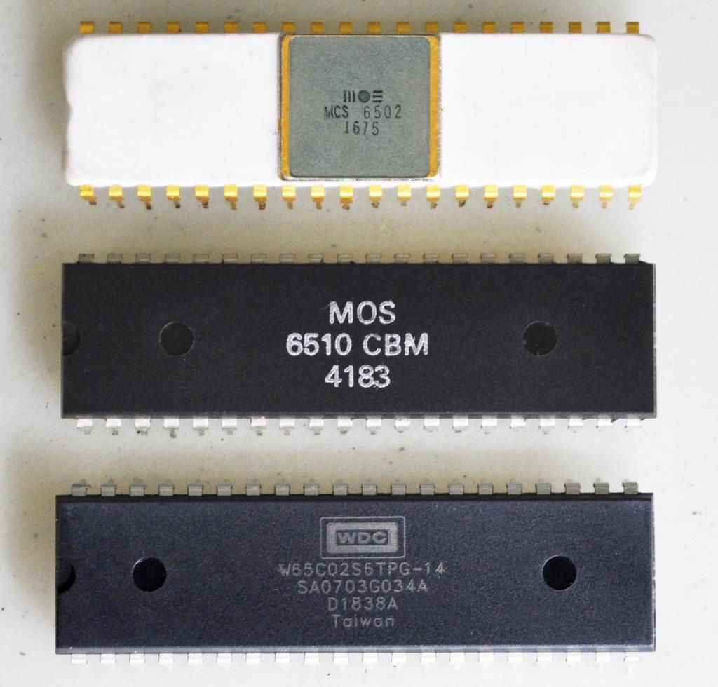 3 generations of 6502 cpus