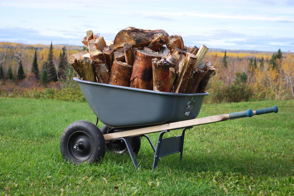 wheelbarrow of wood