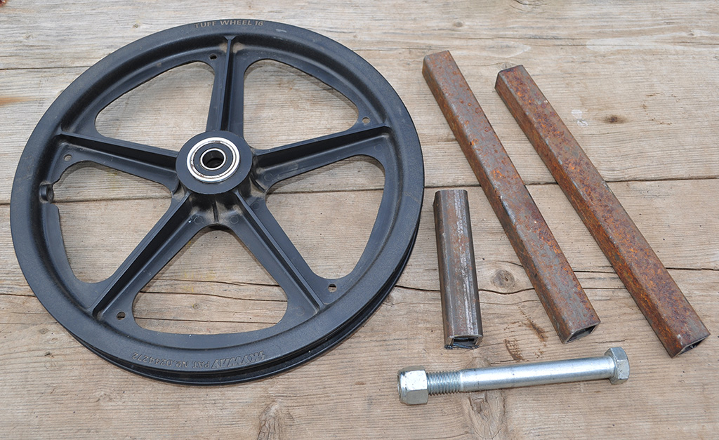 an idler pulley and fork leg tubing